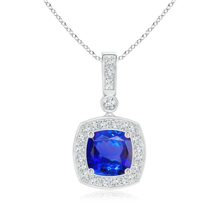 Angara Tanzanite Diamond Halo Vintage Pendant in Platinum
