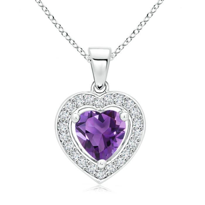 Angara Heart-Shaped Amethyst Pendant with Diamond Halo NWdSUHZhi