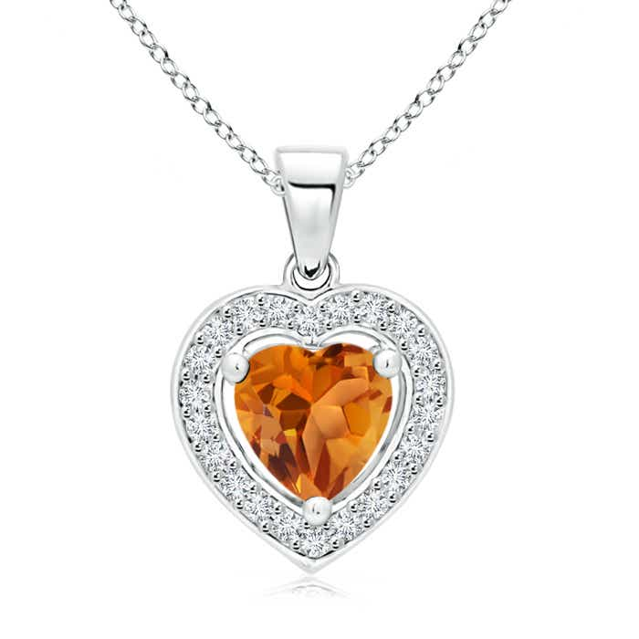 Angara Floating Citrine Heart Pendant with Diamond Halo in 14K White Gold nno9slD
