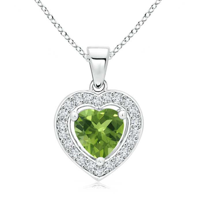 Angara Platinum Diamond Halo Peridot Drop Necklace nLwMYqHMj