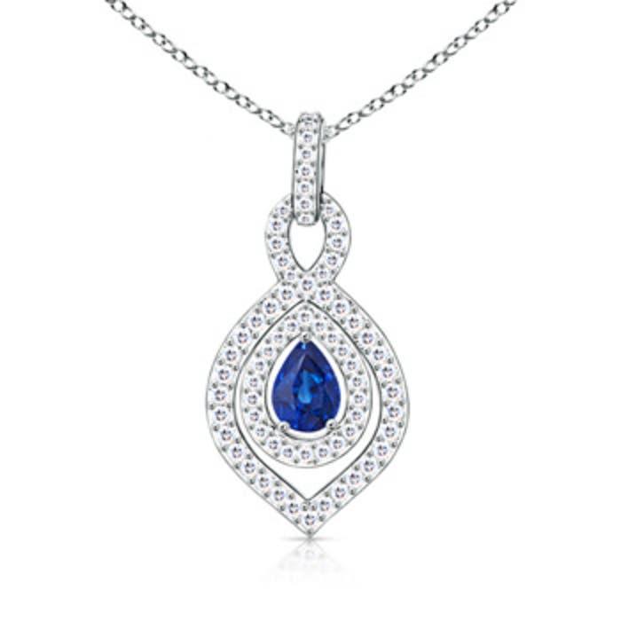 Angara Pear Shaped Sapphire Pendant in 14K Yellow Gold LkQQv