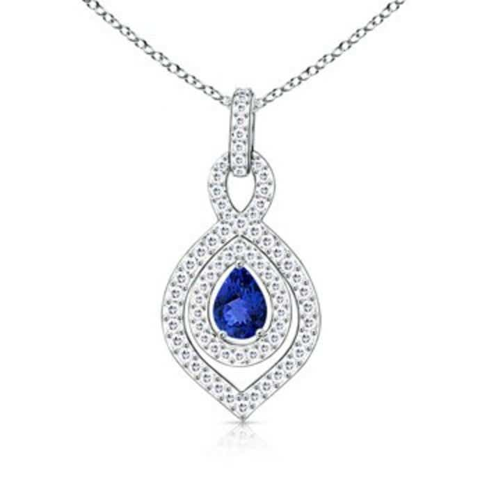 Angara Pear Drop Tanzanite Brown Diamond Halo Vintage Necklace in White Gold RYBPmfcGpN