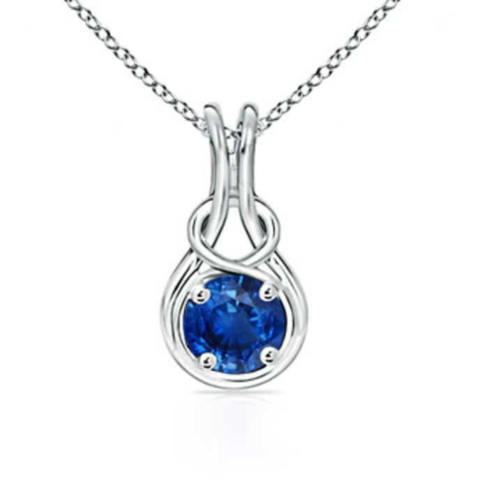 Angara Round Sapphire Necklace in 14k White Gold MaTBm