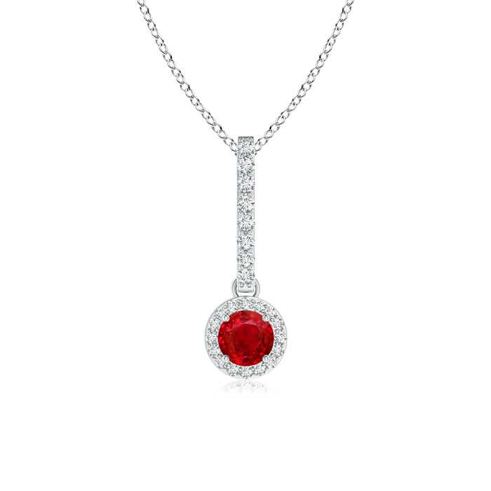 Angara Round Ruby Diamond Dangling Necklace in 14k White Gold dJisLaB