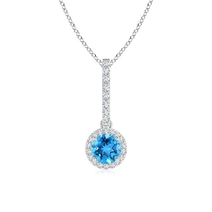 Angara Claw-Set Round Swiss Blue Topaz Pendant with Diamond Halo nVogjJ