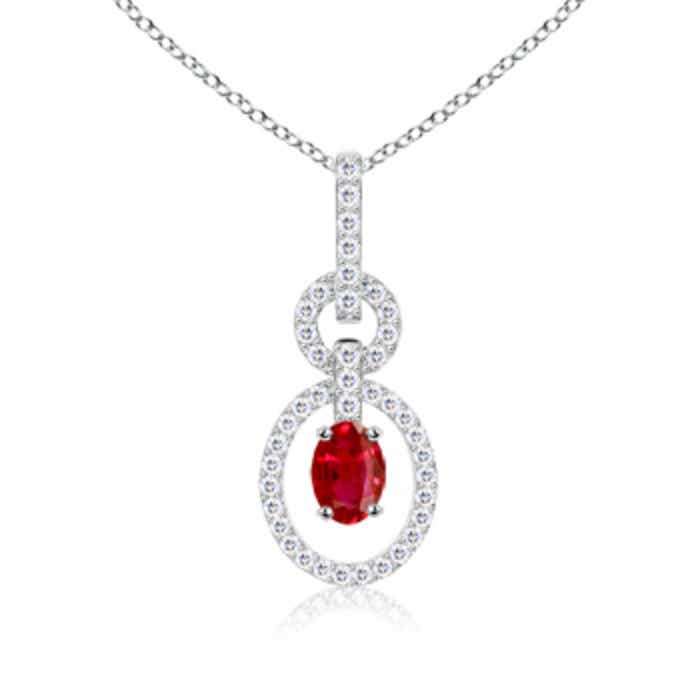 Angara Oval Ruby and Diamond Vintage Pendant in Platinum fMhSH8PI