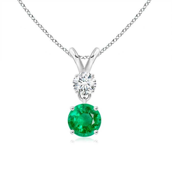 Angara Round Peridot and Diamond Two Stone Pendant kRzxaH