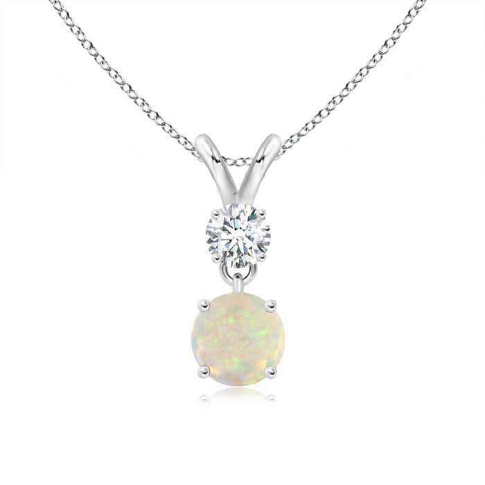 Angara Round Opal and Diamond Two Stone Pendant gY90ft