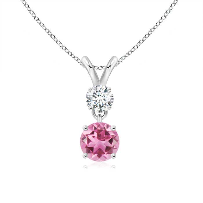 Angara Dangling Round Pink Tourmaline and Diamond Halo Pendant in Platinum g7DFO