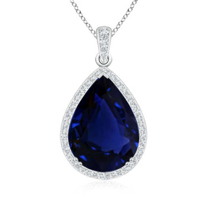 Angara Blue Sapphire Pendant - Vintage Style GIA Certified Sapphire Teardrop Pendant cAnAASJb