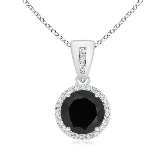 Angara Round Black Onyx Necklace in White Gold o68Aa6nK