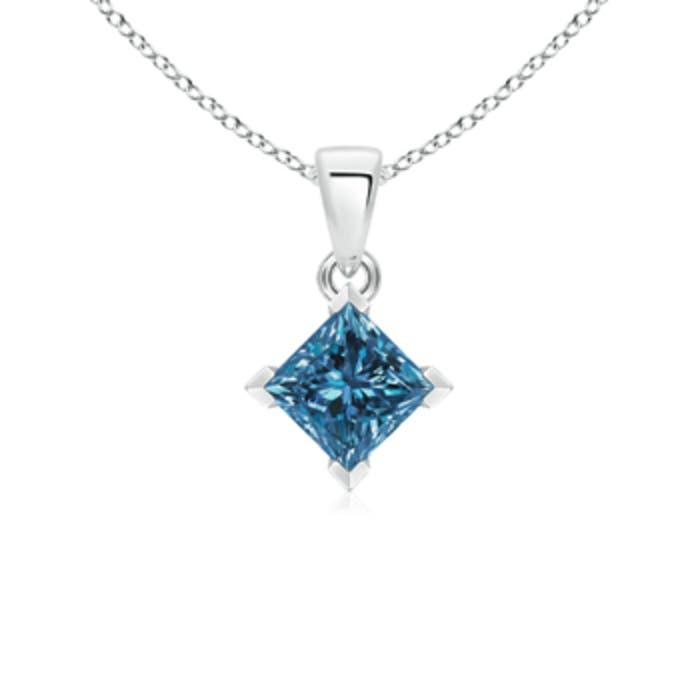 Angara Princess-Cut Enhanced Blue Diamond Solitaire Pendant AYNHS1Vj