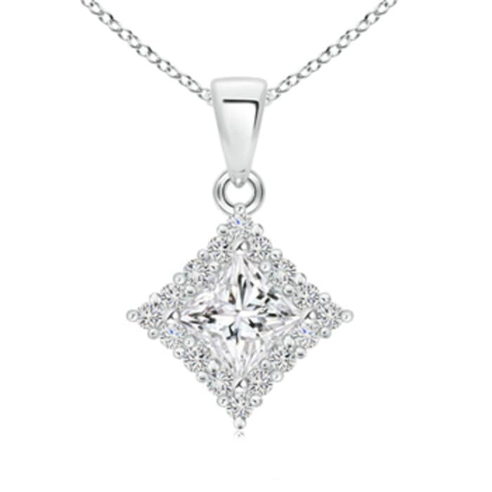 Angara Classic Princess-Cut Diamond Pendant with Halo N6bLrqYv