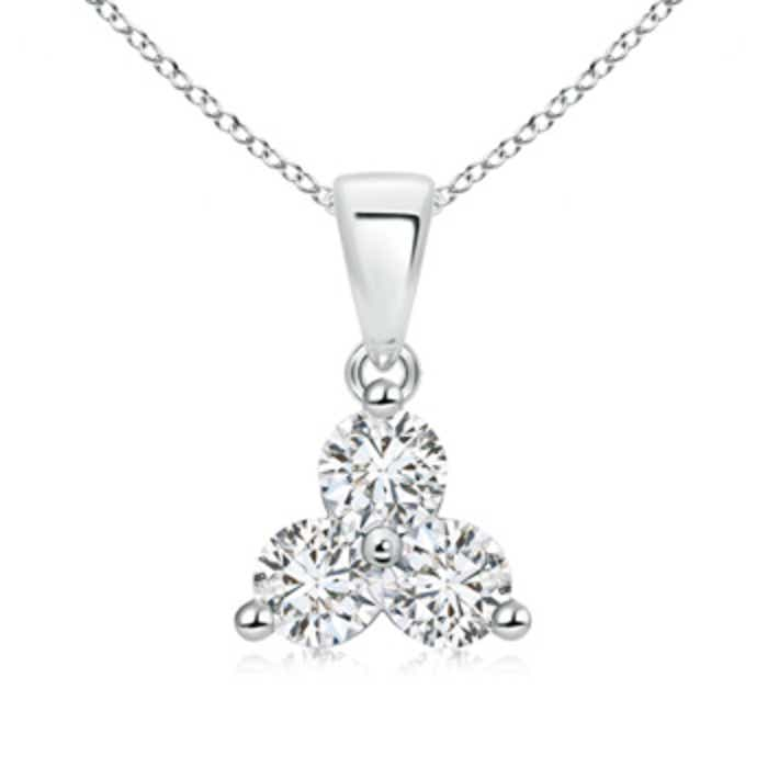 Angara Round Diamond Three Stone Pendant 0mh0oy