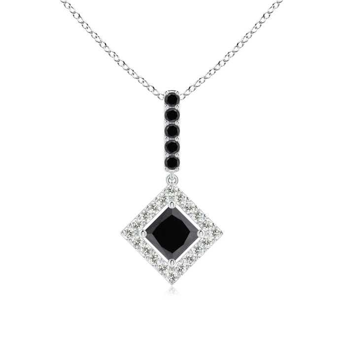 Angara Floating Halo Princess-Cut Enhanced Black Diamond Pendant Vmp7s