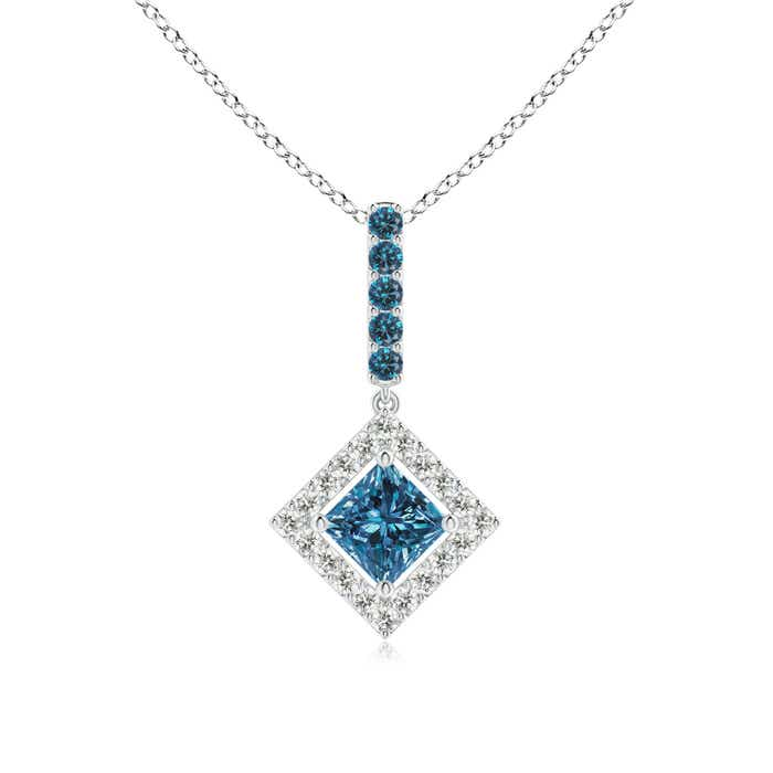 Angara Floating Halo Princess-Cut Enhanced Blue Diamond Pendant jouSb