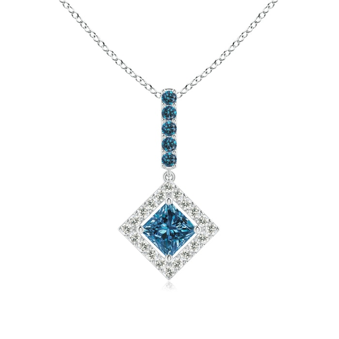 Angara Floating Halo Princess-Cut Enhanced Blue Diamond Pendant