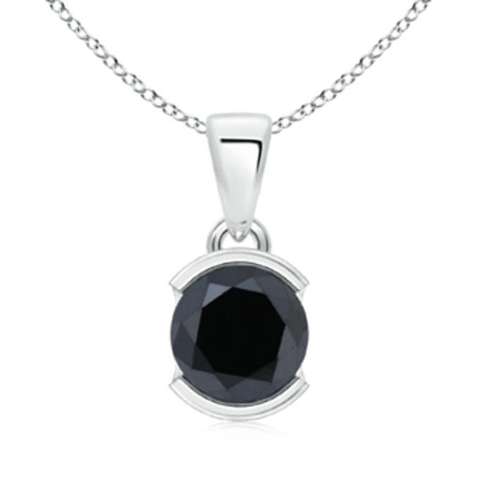 Angara Round Enhanced Black Diamond Solitaire Pendant 6oSWrO1kE