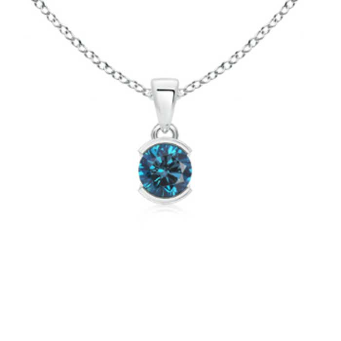 Angara Round Enhanced Blue Diamond Solitaire Pendant 0oMVdJ