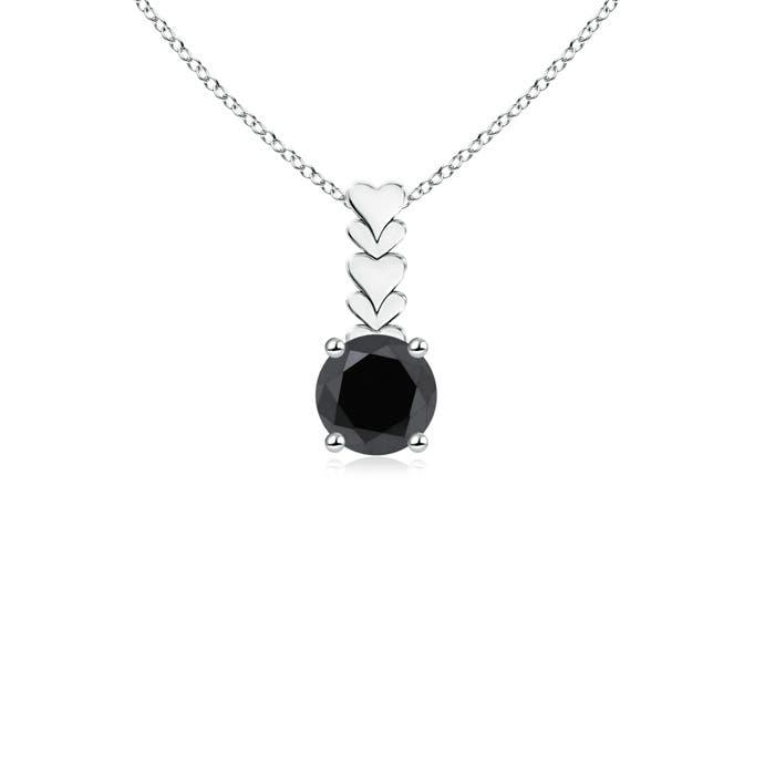 Angara Round Enhanced Black Diamond Pendant with Heart Motifs JUcMveJu