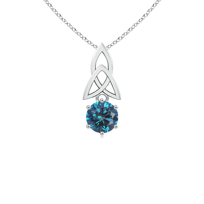 Angara Princess-Cut Enhanced Blue Diamond Solitaire Pendant P74YQp