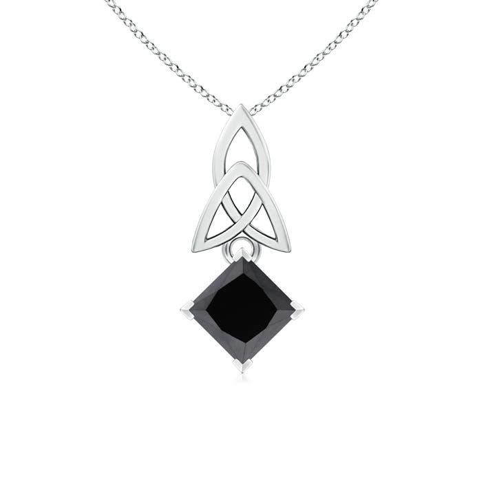 Angara Princess-Cut Diamond Celtic Knot Pendant GZog4f