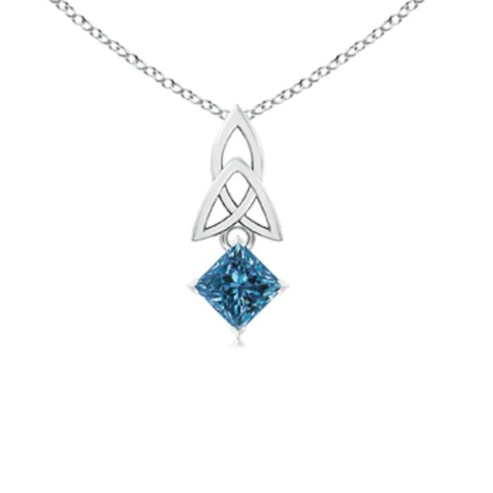 Angara Princess-Cut Enhanced Blue Diamond Celtic Knot Pendant BJ8Wx