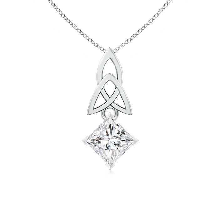 Angara Princess-Cut Diamond Celtic Knot Pendant HeKj6fXBr7