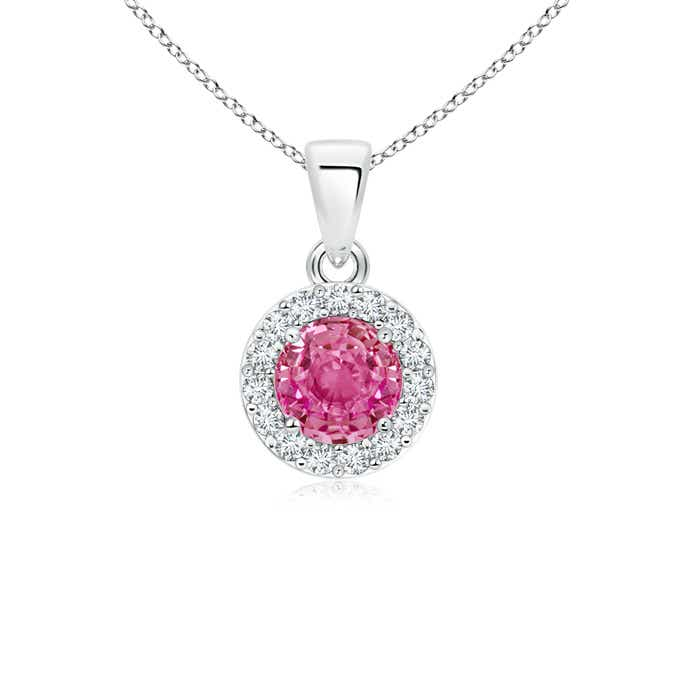 Angara Dangling Round Pink Sapphire and Diamond Halo Pendant in Yellow Gold