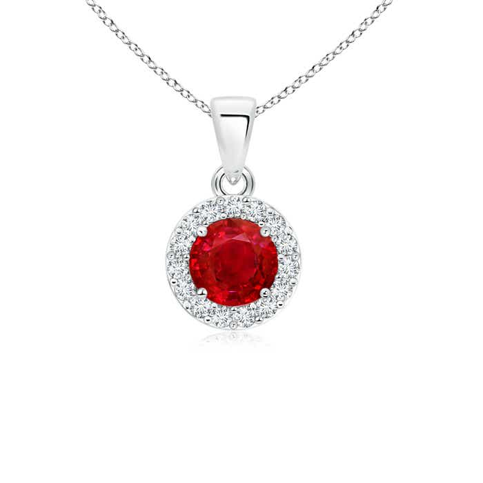 Angara Platinum Diamond Halo Ruby Drop Pendant