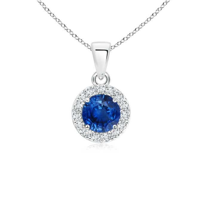 Angara Vintage Imspired Sapphire Diamond Halo Necklace Pendant in White Gold chs2Pvv