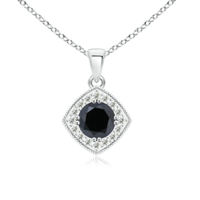 Angara Diamond Halo Pendant with Milgrain F7s14