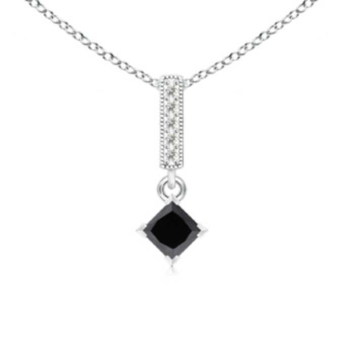 Angara V Prong-Set Princess Diamond Pendant 82PGj