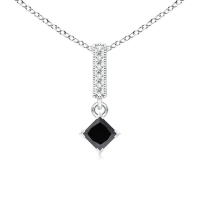 Angara Floating Halo Princess-Cut Enhanced Blue Diamond Pendant kNzotg9Ia