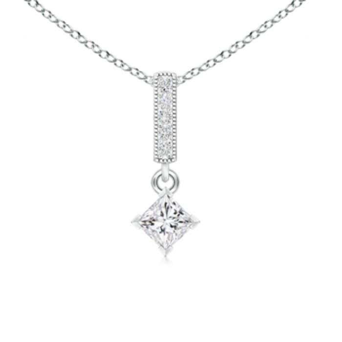 V prong set princess diamond pendant angara 18 inches 14k white gold chain comes free with pendant aloadofball Images