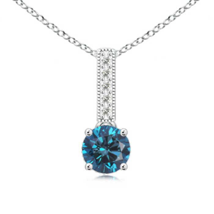 Angara Round Enhanced Blue Diamond Floating Halo Pendant EVI3Lu2