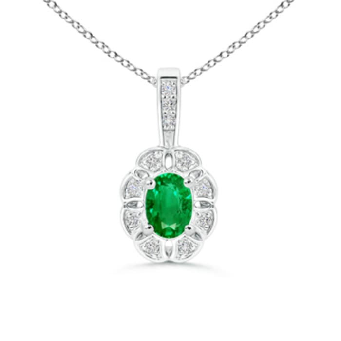 Angara Oval Emerald Pendant with Floral Diamond Halo fFgr4A