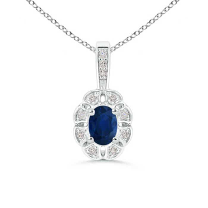 Angara Oval Sapphire and Diamond Pendant in Yellow Gold WJC8t
