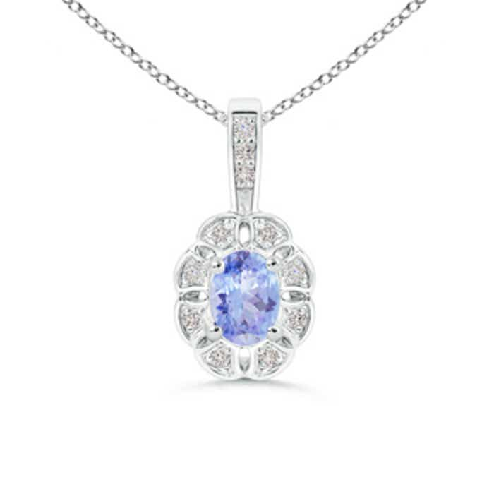 Angara Oval Diamond Natural Tanzanite Pendant in 14k Yellow Gold WBVrjhbV3