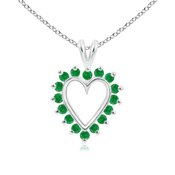 Angara Round Emerald Heart V-Bale Pendant in 14k Yellow Gold