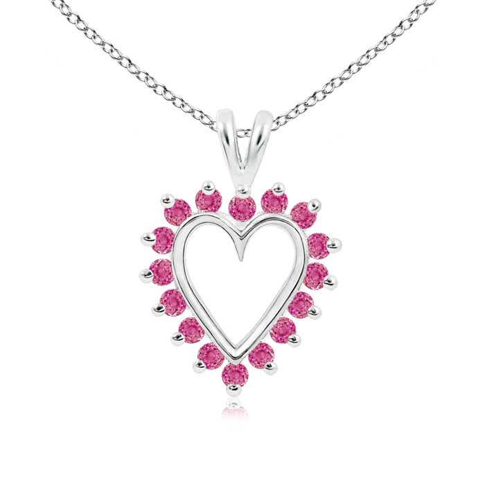 Angara Solitaire Round Pink Sapphire Open Heart Pendant in Yellow Gold