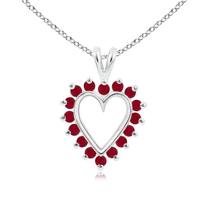 Angara Round Ruby Heart V-Bale Pendant in Platinum j0a2VLleuH