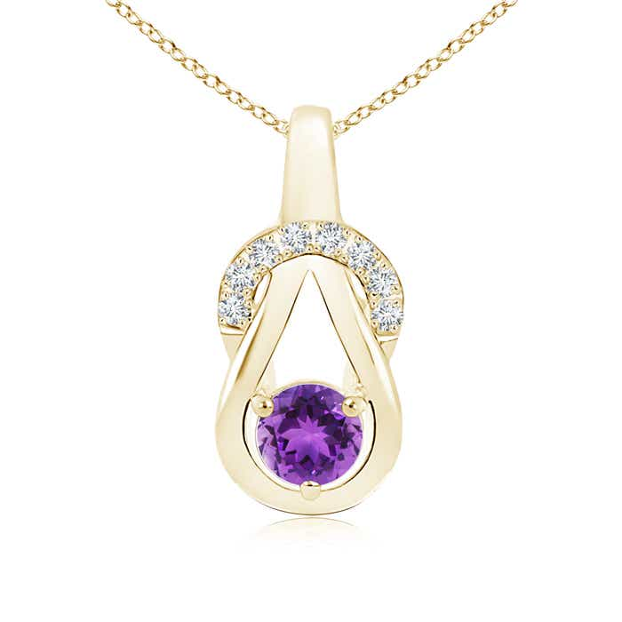 Angara Round Amethyst Solitaire Infinity Knot Pendant gYWFtYnNSg