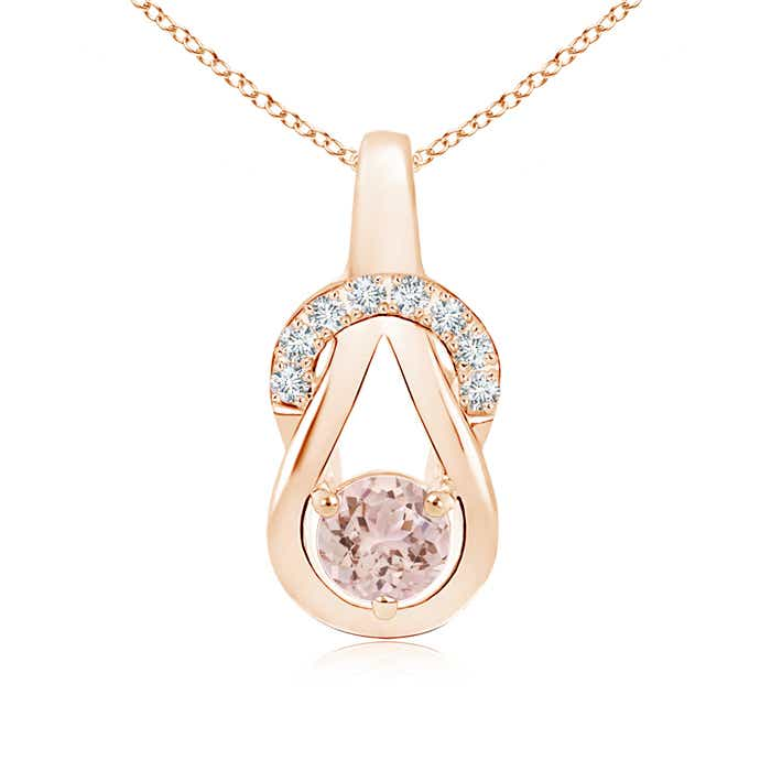 Angara Round Morganite Solitaire Infinity Knot Pendant aE89y