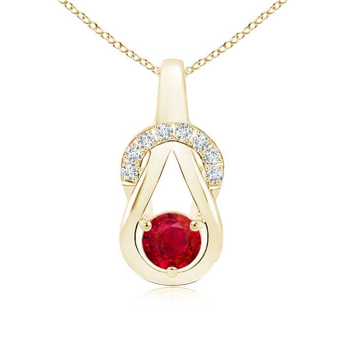 Angara Ruby Infinity Knot Pendant with Diamonds vc48ceARmb