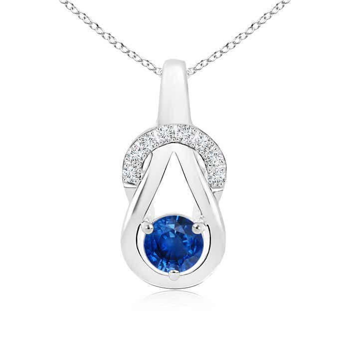 Angara 5mm Sapphire Infinity Knot Necklace in White Gold yeITqmkY61