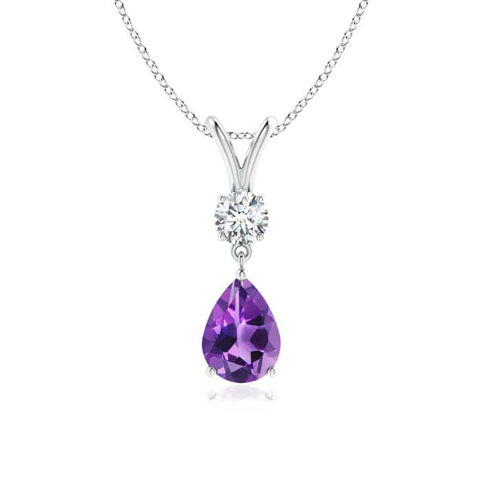 Angara Amethyst Teardrop Necklace in Platinum bpce5AeJ
