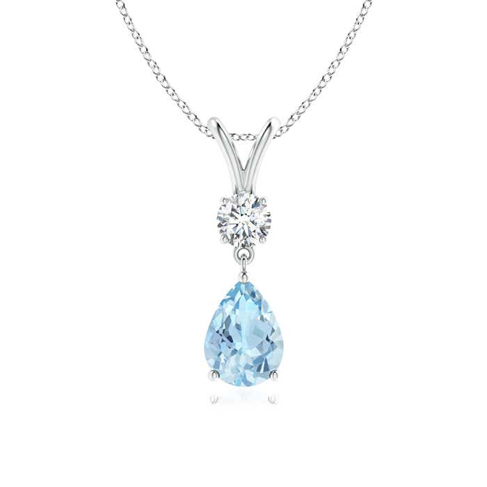 Angara V-Bale Aquamarine Pendant Necklace Platinum