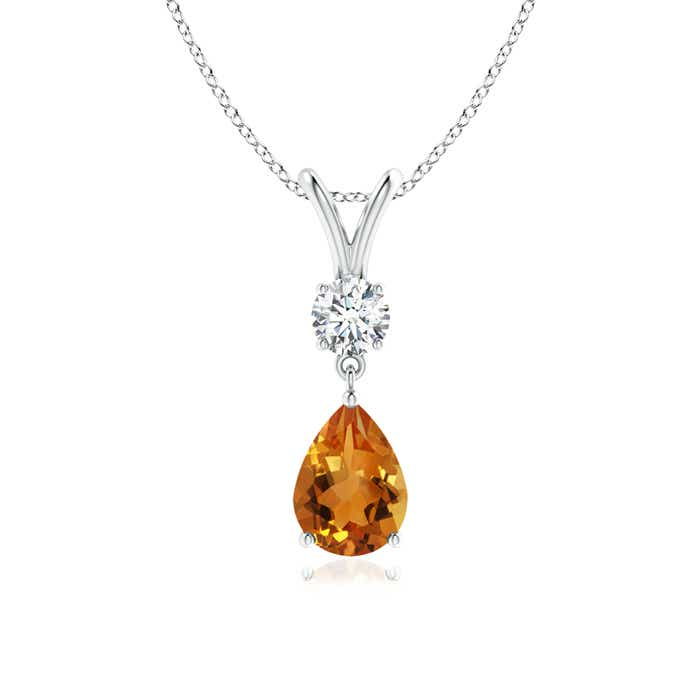 Angara V-Bale Citrine Pendant Necklace Yellow Gold