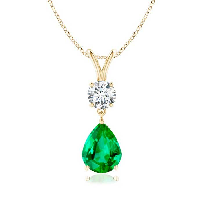Angara Graduated Round Emerald Three Stone Pendant in Platinum